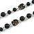Black Pearl Style, Glass and Floral Ceramic Beaded Necklace - 72cm L/ 4cm Ext - view 4