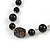 Black Pearl Style, Glass and Floral Ceramic Beaded Necklace - 72cm L/ 4cm Ext - view 5