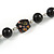 Black Pearl Style, Glass and Floral Ceramic Beaded Necklace - 72cm L/ 4cm Ext - view 6