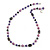 Purple Pearl Style, Black Glass and Floral Ceramic Beaded Necklace - 72cm L/ 4cm Ext - view 3