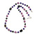 Purple Pearl Style, Black Glass and Floral Ceramic Beaded Necklace - 72cm L/ 4cm Ext