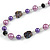 Purple Pearl Style, Black Glass and Floral Ceramic Beaded Necklace - 72cm L/ 4cm Ext - view 4