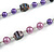 Purple Pearl Style, Black Glass and Floral Ceramic Beaded Necklace - 72cm L/ 4cm Ext - view 5