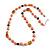 Peach Orange Pearl,  Black Glass and Ceramic Beaded Necklace - 72cm L/ 4cm Ext - view 2