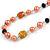 Peach Orange Pearl,  Black Glass and Ceramic Beaded Necklace - 72cm L/ 4cm Ext - view 4
