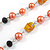 Peach Orange Pearl,  Black Glass and Ceramic Beaded Necklace - 72cm L/ 4cm Ext - view 5