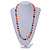Peach Orange Pearl,  Black Glass and Ceramic Beaded Necklace - 72cm L/ 4cm Ext - view 3