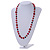 Red Pearl Style, Black Glass and Floral Ceramic Beaded Necklace - 72cm L/ 4cm Ext - view 2