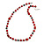 Red Pearl Style, Black Glass and Floral Ceramic Beaded Necklace - 72cm L/ 4cm Ext - view 3
