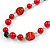 Red Pearl Style, Black Glass and Floral Ceramic Beaded Necklace - 72cm L/ 4cm Ext - view 4