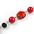 Red Pearl Style, Black Glass and Floral Ceramic Beaded Necklace - 72cm L/ 4cm Ext - view 5
