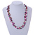 Statement Glass, Nugget Silver Tone Chain Necklace in (Pink, Purple, Cream) - 60cm L/ 8cm Ext - view 2