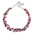 Statement Glass, Nugget Silver Tone Chain Necklace in (Pink, Purple, Cream) - 60cm L/ 8cm Ext - view 3