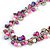 Statement Glass, Nugget Silver Tone Chain Necklace in (Pink, Purple, Cream) - 60cm L/ 8cm Ext - view 4