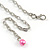 Statement Glass, Nugget Silver Tone Chain Necklace in (Pink, Purple, Cream) - 60cm L/ 8cm Ext - view 7