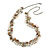 Statement Cream Glass, Antique White Nugget Silver Tone Chain Necklace - 60cm L/ 8cm Ext
