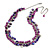 Statement Purple Glass, Violet Nugget Silver Tone Chain Necklace - 60cm L/ 8cm Ext