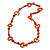 Orange Round and Oval Wooden Bead Cotton Cord Necklace - 84cm Long