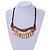 Statement Sea Shell, Orange/ Brown Wood Bead Black Cotton Cord Necklace - 42cm L (Min)/ Adjustable - view 2