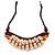 Statement Sea Shell, Orange/ Brown Wood Bead Black Cotton Cord Necklace - 42cm L (Min)/ Adjustable - view 3