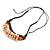 Statement Sea Shell, Orange/ Brown Wood Bead Black Cotton Cord Necklace - 42cm L (Min)/ Adjustable - view 4