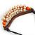 Statement Sea Shell, Orange/ Brown Wood Bead Black Cotton Cord Necklace - 42cm L (Min)/ Adjustable - view 5