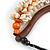 Statement Sea Shell, Orange/ Brown Wood Bead Black Cotton Cord Necklace - 42cm L (Min)/ Adjustable - view 6