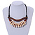 Statement Sea Shell, Brown Wood Bead Black Cotton Cord Necklace - 42cm L (Min)/ Adjustable - view 2