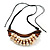 Statement Sea Shell, Brown Wood Bead Black Cotton Cord Necklace - 42cm L (Min)/ Adjustable - view 3