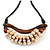 Statement Sea Shell, Brown Wood Bead Black Cotton Cord Necklace - 42cm L (Min)/ Adjustable - view 4