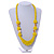 Chunky Yellow Glass and Shell Bead Necklace - 70cm L - view 2