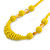 Chunky Yellow Glass and Shell Bead Necklace - 70cm L - view 3