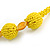 Chunky Yellow Glass and Shell Bead Necklace - 70cm L - view 5