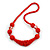 Chunky Bright Red Glass and Shell Bead Necklace - 70cm L