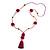 Fuchsia/ Purple Glass Bead, Pom Pom, Tassel Long Necklace - 88cm L/ 10cm Tassel