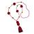 Fuchsia/ Purple Glass Bead, Pom Pom, Tassel Long Necklace - 88cm L/ 10cm Tassel - view 7