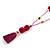 Fuchsia/ Purple Glass Bead, Pom Pom, Tassel Long Necklace - 88cm L/ 10cm Tassel - view 3