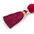 Fuchsia/ Purple Glass Bead, Pom Pom, Tassel Long Necklace - 88cm L/ 10cm Tassel - view 4