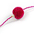 Fuchsia/ Purple Glass Bead, Pom Pom, Tassel Long Necklace - 88cm L/ 10cm Tassel - view 5