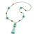 Mint Green Glass Bead, Pom Pom, Tassel Long Necklace - 88cm L/ 10cm Tassel