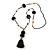 Black Glass Bead, Pom Pom, Tassel Long Necklace - 88cm L/ 10cm Tassel