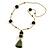 Olive Green Glass Bead, Pom Pom, Tassel Long Necklace - 88cm L/ 10cm Tassel