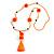 Bright Orange/ Neon Orange Glass Bead, Pom Pom, Tassel Long Necklace - 88cm L/ 10cm Tassel