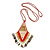 Red/ Brown/ Gold/ White Glass Bead Geometric Pattern Pendant with Long Cotton Cord - 80cm Long - view 5