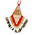 Red/ Brown/ Gold/ White Glass Bead Geometric Pattern Pendant with Long Cotton Cord - 80cm Long - view 2