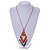 Red/ Brown/ Gold/ White Glass Bead Geometric Pattern Pendant with Long Cotton Cord - 80cm Long - view 3