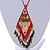 Red/ Brown/ Gold/ White Glass Bead Geometric Pattern Pendant with Long Cotton Cord - 80cm Long - view 4