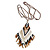Bronze/ Black/ White Glass Bead Geometric Pattern Pendant with Long Cotton Cord - 80cm Long - view 7