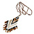 Bronze/ Black/ White Glass Bead Geometric Pattern Pendant with Long Cotton Cord - 80cm Long - view 4