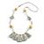 Boho Style Glass Beaded Pom Pom, Tassel Long Necklace In Light Grey - 90cm L
